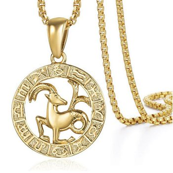 - 14k Yellow Gold Plated Steel Zodiac Birth Sign Horoscope Constellation Pendant with Chain Necklace