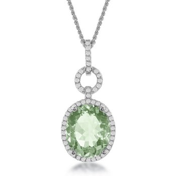 "- Bellissima Sterling Silver Green Amethyst Gemstone and White Topaz Gemstones Pendant Necklace - 17"""