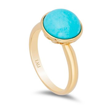 """""""One-Of-A-Kind"""" Collection 14k Yellow Gold Solitaire Turquoise Gemstone Cocktail Ring"""