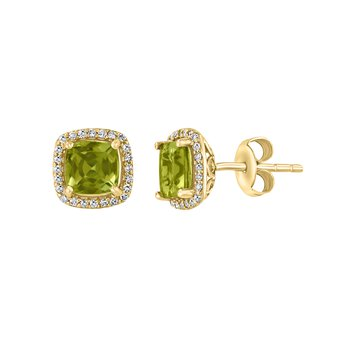 - 14k Yellow Gold 0.19Ctw. Diamond Halo and 2.07Ctw. Peridot Gemstones Stud Earrings