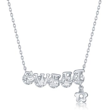 Sterling Silver 'SWEET' Rotating CZ Flower Charm Chain Necklace