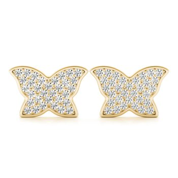 0.67ctw. Pave Diamond Butterfly Stud Earrings Pair