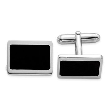 Sterling Silver 18x14mm Rectangle Black Enamel Made in Italy Men's Cuff Links