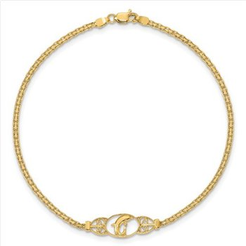 """14k Yellow Gold Solid 1.85mm Polished Dolphin Chain Anklet - 10"""""""