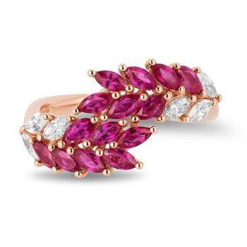 - 14k Rose Gold Diamond and Ruby Gemstone Rowan Leaf Nature Inspired Design Ring