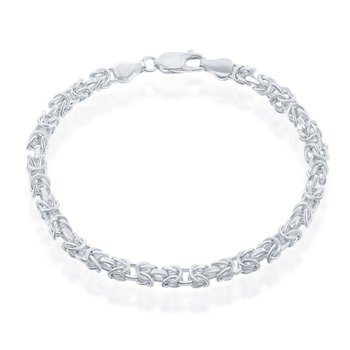 - Sterling Silver 5mm Open Bizantine Chain Bracelet/Necklace for Men