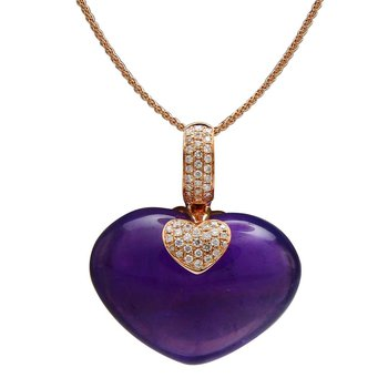 """- """"Limited-Edition"""" Collection 18k Rose Gold Diamond and Heart Amethyst Gemstone Chain Pendant"""