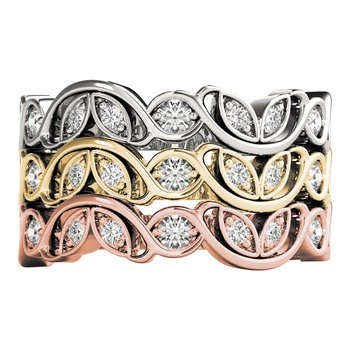 0.25ctw. Diamond Anniversary Wedding Floral Stackable Ring Band