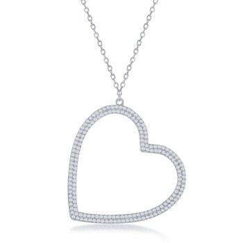 Sterling Silver Micro Pave CZ Heart Pendant Chain Necklace