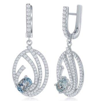 Bellissima Sterling Silver 1.71ctw. Blue Topaz Gemstones and 1.40ctw. White Topaz Gemstones Dangle Drop Latchback Earring Pair