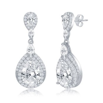 Sterling Silver Pears Round Marquise CZ Double Halo Dangle/Drop Teardrop Earrings