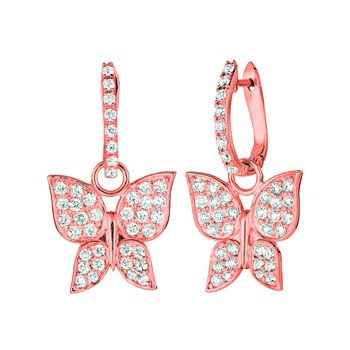 14K Gold Diamnd Butterfly Dangle/Drop Earrings - 1.26ctw. Diamond