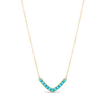 - 10k Yellow Gold Turquoise Gemstones V-Shaped Chain Necklace