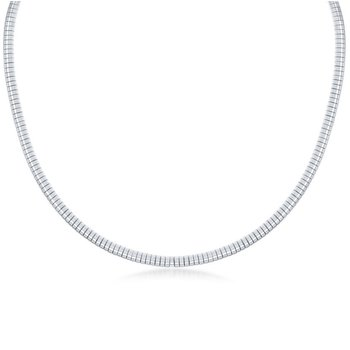 - Sterling Silver 4mm Half-Round Omega Necklace