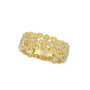 14K Gold 0.26ctw. Diamond Wide Victorian Anniversary Wedding Band Ring