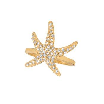 14K Gold 0.53ctw. Diamond Starfish Cocktail Anniversary Ring