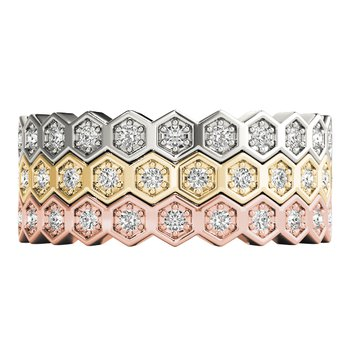 1/10ctw. Diamond Anniversary Wedding Honeycomb Stackable Ring Band