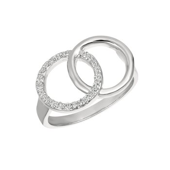 14k Gold 0.15ctw. Diamond Double Interlocking Circles Cocktail Anniversary Ring