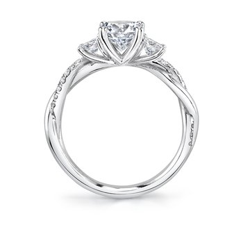 - Three-Stone Round-Shaped Center Spiral Diamond Accented Semi-Mount Engagement Ring