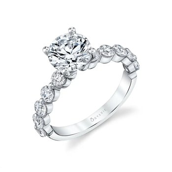 - Stylish Solitaire Diamond Accented Semi-Mount Engagement Ring