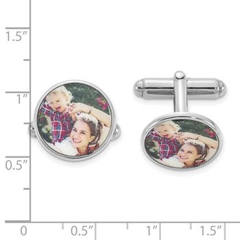 Sterling Silver 15.5mm Round Picture Image Personalized Cuff Links