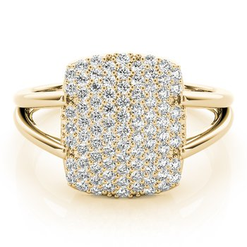 - 0.33ctw. Diamond Pave Cluster Rectangle Shaped Ring