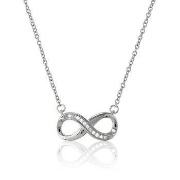 - Sterling Silver Infinity Set with White Topaz Gemstones Chain Necklace - 16""