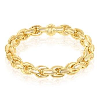 "- Bella Moda Sterling Silver w/14K Yellow Gold Overlay Oval Link Bracelet - 8"""