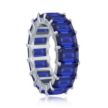 Sterling Silver 6mm Blue CZ Emerald-Cut Eternity Band Ring