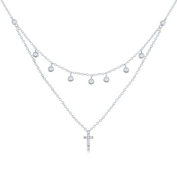 Sterling Silver Double Strand Bezel-set CZ with CZ Cross Station Chain Necklace
