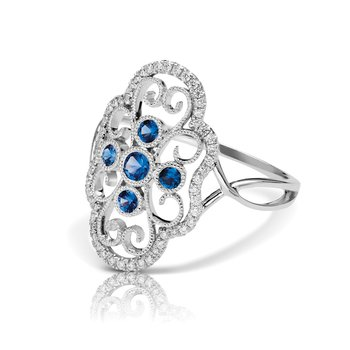- 1/6ctw. Diamonds & 1/5ctw. Blue Sapphire Round Gemstones 14k Gold Vintage-Inspired Right Hand Ring