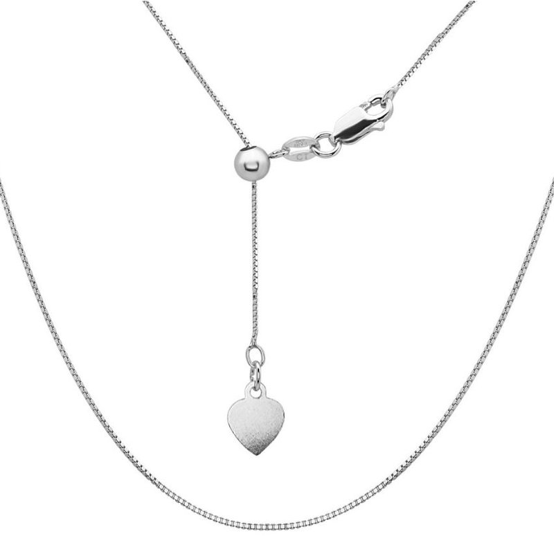 """Fashion Jewelry Collection Sterling Silver 1mm Box Chain 14""""-22"""" Adjustable Necklace"""