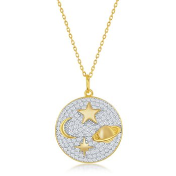Sterling Silver 14k Yellow Gold Plated Star Moon Saturn North Star Round Micro Pave CZ Round Pendant Necklace