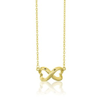 - Sterling Silver 14k Gold Plated Infinity Heart Chain Necklace - 16""