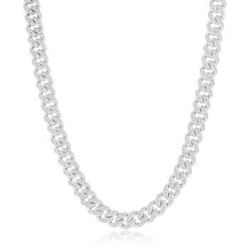 - Sterling Silver 6.5mm Micro-Pave White CZ Miami Cuban Chain Bracelet / Necklace for Men