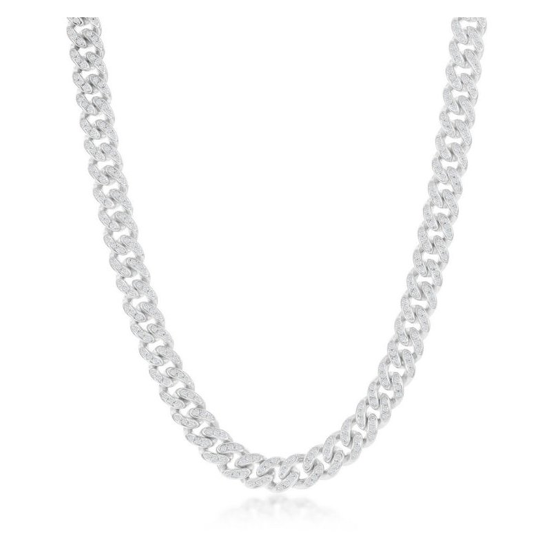 Fashion Jewelry Collection - Sterling Silver 6.5mm Micro-Pave White CZ Miami Cuban Chain Bracelet / Necklace for Men