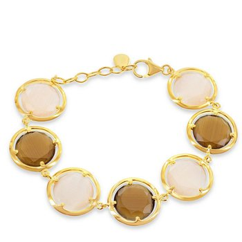 """- Simona Sterling Silver 14k Yellow Gold Plated Round Coffee Cat's Eye Bracelet - 7"""""""