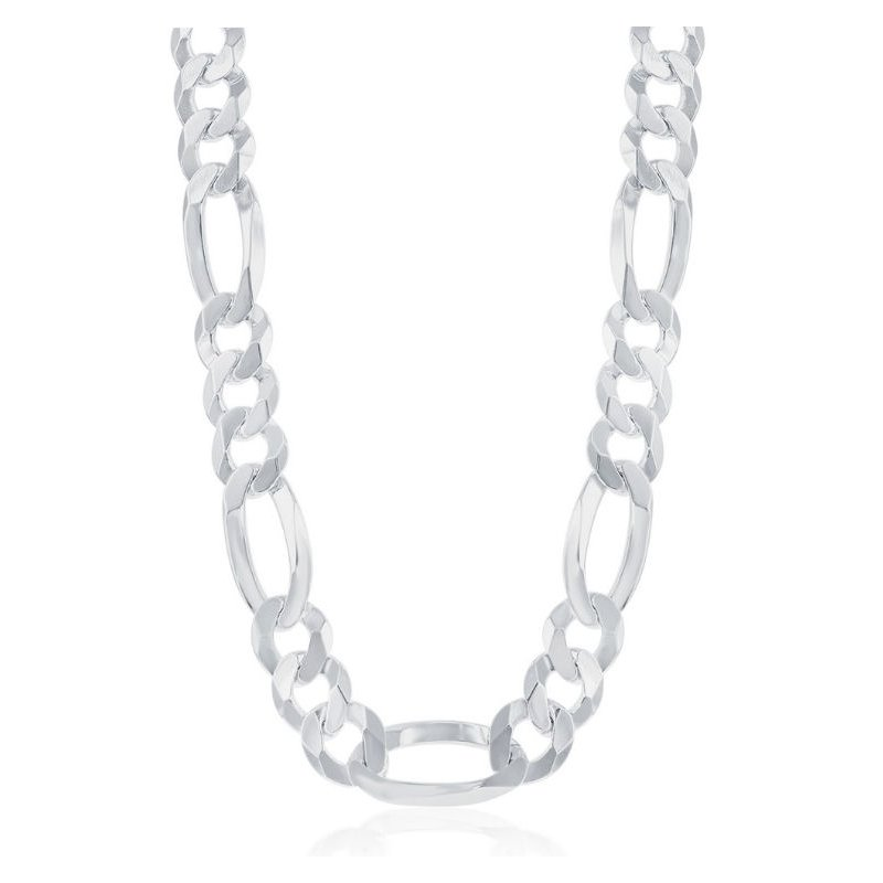 Fashion Jewelry Collection - Sterling Silver 13.3mm Figaro Chain Bracelet / Necklace for Men
