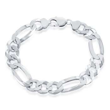 - Sterling Silver 13.3mm Figaro Chain Bracelet / Necklace for Men