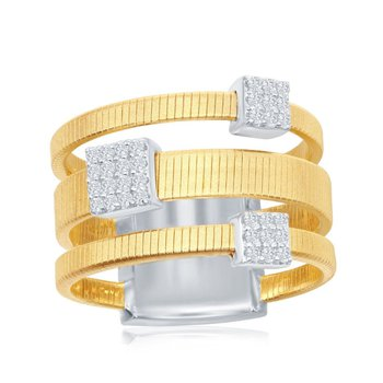 - Italian Collection CZ Stones Sterling Silver 14k Yellow Gold Plated Ring Band
