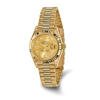 : Pre-Owned Independently Certified Rolex 18k Yellow Gold Ladies Datejust President with Diamond Champagne Dial
