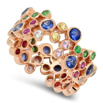 - Multi-Color Gemstones Right Hand Cocktail Eternity Band Ring