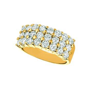 14k Gold 2.25ctw. Diamond 3-Row Anniversary Wedding Band Ring