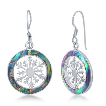 - Sterling Silver Abalone Snowflake Round French Wire Earrings Pair
