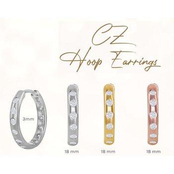 Sterling Silver 3x18mm Round CZ Hinged Hoop Earrings