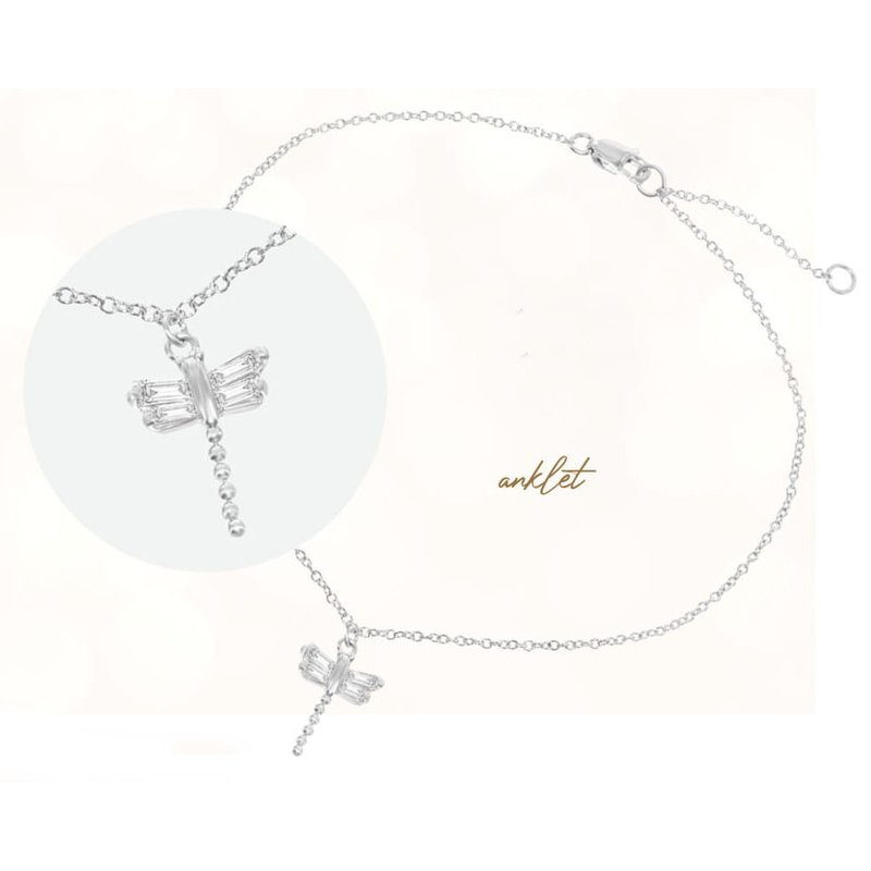 Fashion Jewelry Collection Sterling Silver Baguette CZ Dragonfly Adjustable Chain Anklet