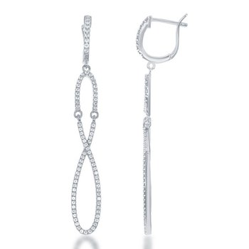 - Bellissima Sterling Silver Gold Plated 1.35ctw. White Topaz Gemstones Infinity Dangle Drop Earring Pair