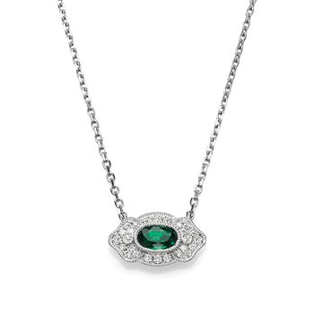 - 1/10ct. Diamond & 1/5ct. Oval Emerald Gemstone 14k Gold Chain Necklace