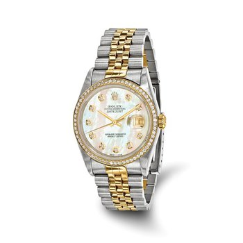 : Pre-Owned Independently Certified Rolex Gents Datejust Two-Tone Steel/18ky with Mother-of-pearl Diamond Dial, Diamond Bezel, and Jubilee Band