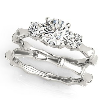 - Round 3-Stone Diamond Engagement Ring and Wedding Band Set